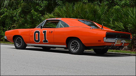 1969 Dodge Charger General Lee rear 3/4 view
