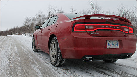 2012 Dodge Charger R/T rear 3/4 view