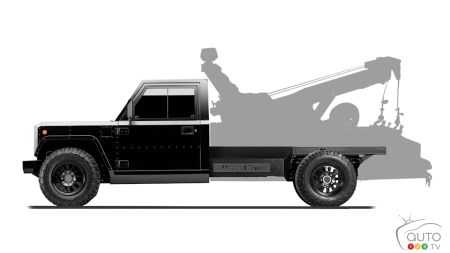 Bollinger B2CC, with towing equipment silhouette