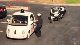 A Google self-driving car stopped by police for driving too slowly!