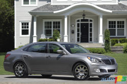 """First-class on a budget - The Hyundai Equus's styling may not be directly attempting to pull the wool over anyone's eyes, though the droves of people who stop curiously to check it out may suggest otherwise.   Hyundai doesn't put their stylized """"H"""" badge anywhere on the Equus, inside or out, other than the trunk lid. Even the rims and steering wheel wear the Equus's flying 'bird' badge instead—which is repeated on the front of the hood."""