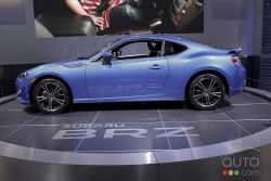 2013 Subaru BRZ video preview during the Detroit Auto Show: The 2013 Subaru BRZ is rear-wheel-drive, has a high-strung 2.0L 4-pot good for 200 ponies and a 6-speed manual gearbox. The BRZ is as fast as it looks, capable of reaching 100 km/h in about 6 seconds. The cockpit is designed for a driver and a navigator and refinement is kept to a minimum. Sounds perfect.