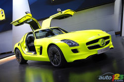 "Exotic and electrifying - Mercedes-Benz showed off its SLS AMG E-Cell in Detroit, a 100% electric version of the SLS AMG supercar that will eventually be on sale and which demonstrates where the company is heading with its ""AMG Performance 2015"" strategy."