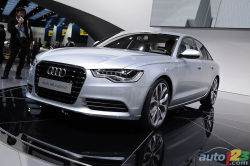 At the Detroit Auto Show today, Audi announced their worldwide sales objective of 1.2 million units in the next year, and also introduced two models that will help them achieve that goal: the 2012 A6 and its hybrid variation.