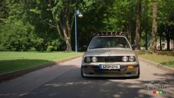 The BMW E30 is a compact executive car which was produced by BMW from 1982 to 1993. All variants used a rear-wheel-drive layout with the exception of the all-wheel-drive 325iX.  The BMW M3 was first introduced on the E30 platform.  Stéphanie Lacroix talks to us about her family owned 1985 BMW E30 325e.