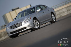 Hybrid twist on luxury and power - The Infiniti M35h is fast. Its 3.5L V6 develops 302 hp and 258 lb-ft of torque, and it's matched to a 67-hp electric motor; together, they produce 360 healthy horses.