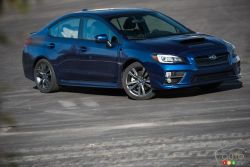 The 2016 Subaru WRX feature sleek and refined styling while still maintaining an overall aggressive appearance. The wide, low stance is emphasized by the piercing headlights, front grille, and bold front fenders. The wide rear fenders, quad exhaust system, and LED-infused tail and brake lights complete the muscular look.