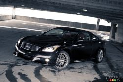 At first glance, the 2011 Infiniti IPL G Coupe looks like any other G37 Coupe on the road. And it's not until you pull up next to an Infiniti G37S coupe that you notice the real differences. It carries itself in the traditional Infiniti way; smooth, sweeping and slightly crouched as if poised and ready to explode. The beefy backend makes the G Coupe look powerful in a sophisticated sort of way, which is precisely the kind of look Infiniti wants, even for its in-house tuning division.