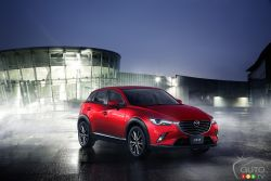 Mazda debuts the all-new 2016 Mazda CX-3 at the 2014 Los Angeles Auto Show. The new compact crossover SUV is the fifth model in Mazda's line-up of new- generation vehicles. The powertrain for North America is the SKYACTIV-G 2.0-liter gasoline engine with Mazda's new-generation AWD system.