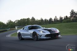 The next chapter in the history of the ultimate street-legal, track-focused, hand-built American supercar begins with the return of the new 2016 Dodge Viper ACR. Certified for public roads and engineered to wring every last hundredth of a second out of road course lap times, the 2016 Dodge Viper ACR combines the latest in aerodynamic, braking and tire technology – a recipe designed to carry on the ACR's lap-time busting reputation that has made it a legend on race tracks around the world.