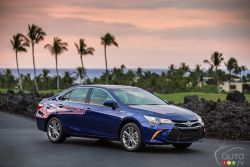 The 2016 Toyota Camry Hybrid is available in 3 bold, distinct models – the sophisticated Camry Hybrid LE, the sporty Camry Hybrid SE, and the ultra-sleek Camry Hybrid XLE. The exterior features a perfect balance of athletic and aerodynamic styling, while the interior is both spacious and comfortable with a wealth of high-tech convenience features including an instrument panel with clear blue illumination.