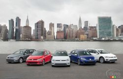2018 Golf family pictures: The 2018 Golf family is featured at the 2017 New York Auto Show
