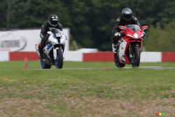 An Italian, a German, a ton of electronics and a race track, all you need to satisfy the most demanding rider. Moto123.com has tested two of the most powerful and technologically advanced 4-cylinder superbikes to date; the MV Agusta F4RR and the BMW HP4 Competition.