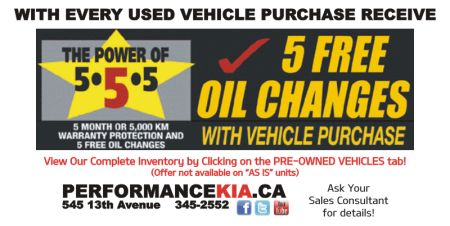 5 FREE Oil Change with Vehicle Purchase!