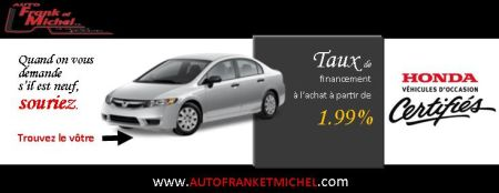 Votre vhicule vous attend  partir de 1.99% chez Honda d'Auto Frank et Michel de la rgion de Qubec!