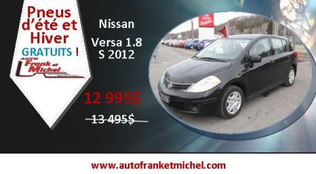 Pneus gratuits et 500$ rabais! Nissan Versa 2012 chez Auto Frank et Michel