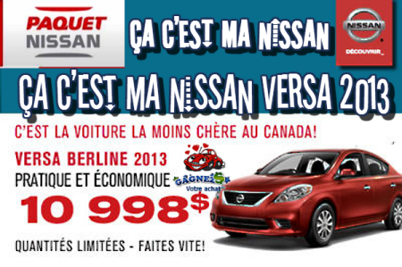 NISSAN VERSA 2013 - PAQUET NISSAN  LVIS SUR LA RIVE-SUD DE QUBEC