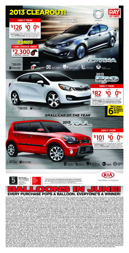 2013 Kia Model Clearout! Win with Balloons in June!
