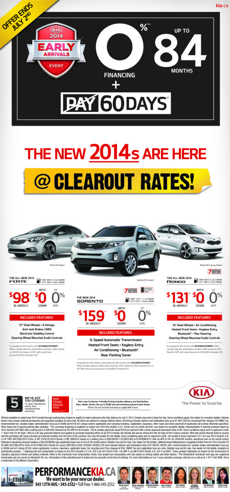 2014's Are Here at Clearout Rates at Performance Kia Thunder Bay