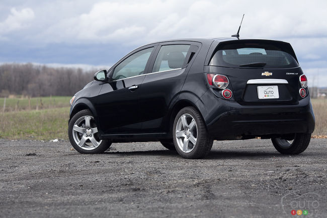2012 Chevrolet Sonic LT rear 3/4 view