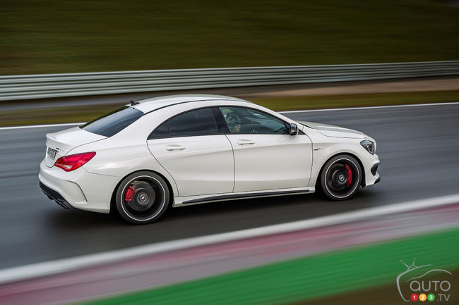 2014 Mercedes-Benz CLA 45 AMG 4MATIC rear 3/4 view