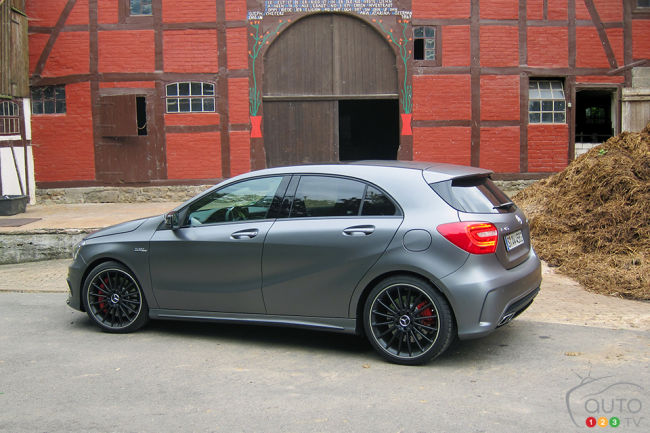 2014 Mercedes Benz A 45 AMG 4MATIC rear 3/4 view