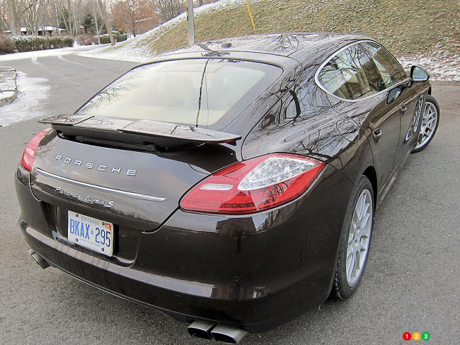 2012 Porsche Panamera Turbo rear 3/4 view