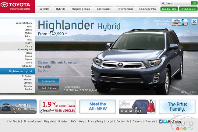 Toyota Canada Website