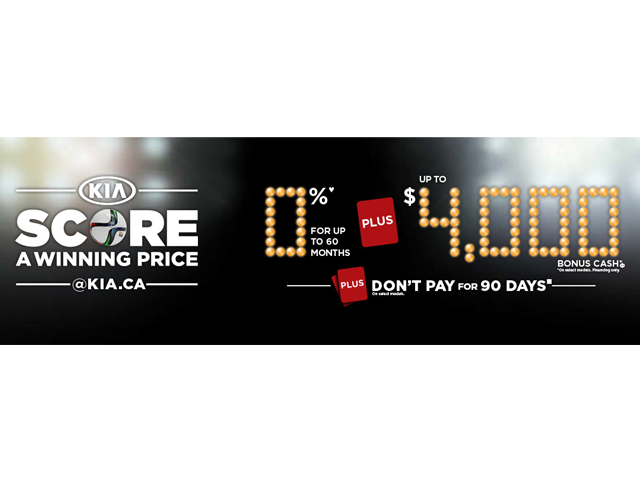 Kia Score a Winning Price + Don't Pay for 90 Days