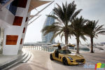 2010 Mercedes-Benz SLS AMG striking gold paint finish at the Dubai International Motor Show