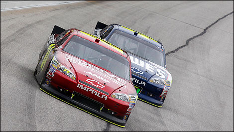 Jeff Gordon leading Jimmie Johnson.
