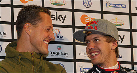 Deux grands Allemands : Michael Schumacher et Sebastian Vettel (Photo: Race of Champions)