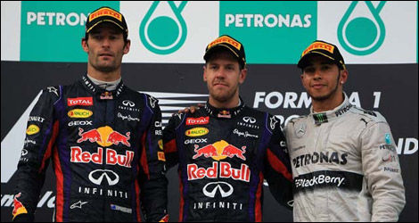 Mark Webber, Sebastian Vettel, Lewis Hamilton (Photo: WRi2)