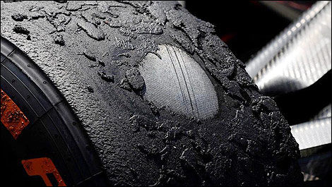 F1 Pirelli tire damaged