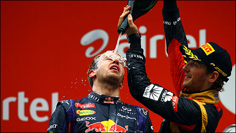 F1 Romain Grosjean podium India Sebastian Vettel
