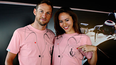 Jenson Button and Jessica wearing John's t-shirt.