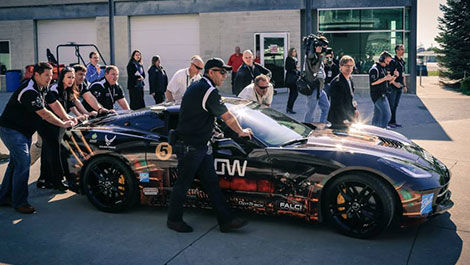 The specially equiped Corvette Sam Schmidt drove.