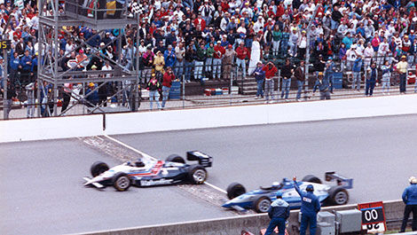 Al Unser beats Scott Goodyear by just 0.043 second.
