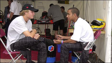 Nico Rosberg and Lewis Hamilton, mbm.com karting team