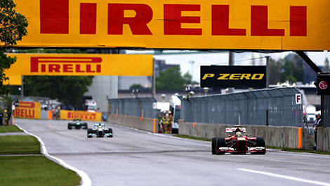 F1 cars reach 330 km/h on the main straight in Montreal.