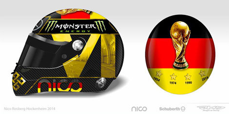 F1 Nico Rosberg helmet Germany World Cup