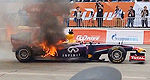 F1: Demo Red Bull F1 car catches fire (+video)