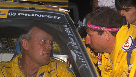 Bjorn Waldegaard and Peugeot boss Jean Todt, 1990 Paris-Dakar