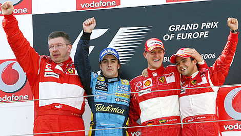 F1 Ross Brawn Ferrari podium 2006 Fernando Alonso Michael Schumacher Felipe Massa