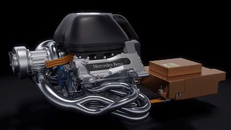 F1 Mercedes V6 turbo hybrid engine