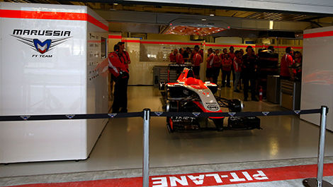 Jules Bianchi's Marrussia, silent in the garage.
