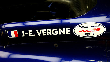 Jean-Eric Vergne had decals made to support his friend.
