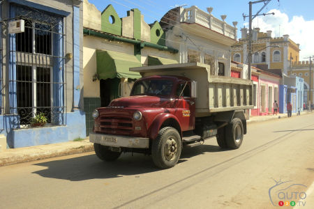 Many American trucks from the 1950s had their cab transposed onto a Russian military truck chassis, as seen with this 1954 or '55 Dodge, seen in the small town of Cardenas.