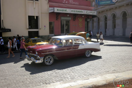 The preferred car of Cubans, the 1956 Chevrolet was the country's best-selling American car in the 1950s. This one is parked in front of the La Florida bar in Havana, made famous by American novelist Ernest Hemingway.