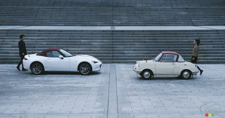 The Mazda MX-5 100th Anniversary Edition, and the R360 Coupe, face to face